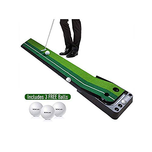 WINCAN Golf Putting Mat Green Indoor Outdoor–Auto Ball Return Function–Portable Golf Court Mini Training Aids - Extra Long Real-Like Grass Putting Trainer Set–3 Practice Bonus Balls