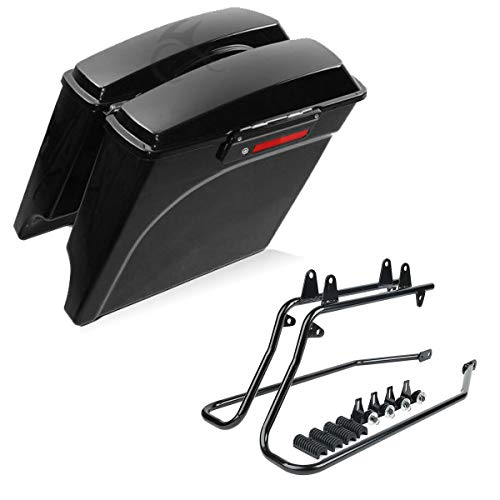 """XFMT 5"""" Stretched Extended Hard Saddle Bags + Conversion Brackets Compatible with Harley Softail"""
