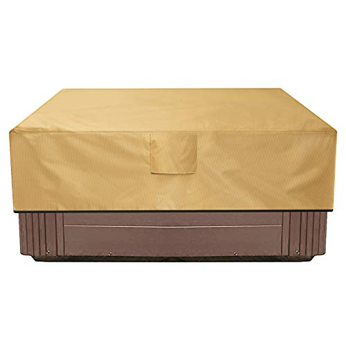 Sunkorto Square Hot Tub Cover, Waterproof Outdoor SPA Cover 600D Oxford Cloth and PVC Coating Hard Cover Protector with Air Vents and Handles, Fits up to 85 x 85 Inch, Light Brown