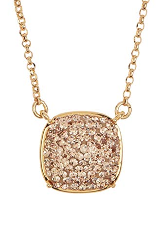 Kate Spade Small Square Pave Pendant Necklace in Light Colorado