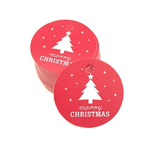 DBSUFV Etiqueta para Hornear de Navidad 100 Uds Pentagram árbol de Navidad Papel Colgante Etiqueta de Regalo Envoltura de Regalo Etiqueta para Hornear