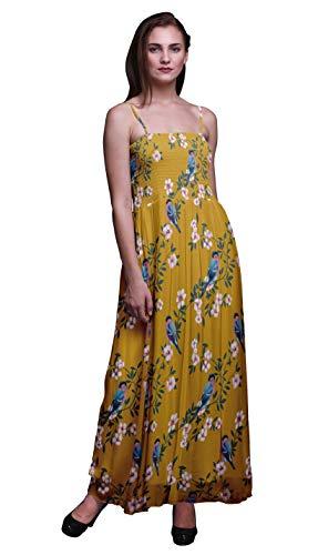 Bimba Peach Floral & American Bird Robin Imprimé Femmes Georgette Smocks Bracelet Robe-XX-Large Or