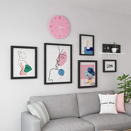 Anyi 7 Pulgadas de Madera Maciza Simple Moderno Moderno Sala de Estar Comedor sofá decoración Fondo Pared Pinturas de Pared,Negro