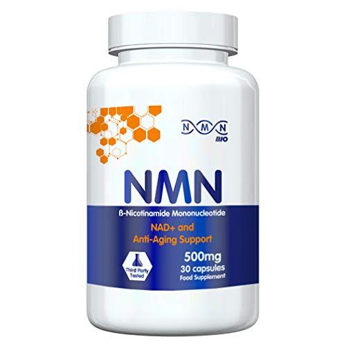 NMN Bio - 99% Pure Beta Nicotinamide Mononucleotide Capsules - 500mg Powerful Anti-Aging Supplements - Zero Fillers or Preservatives - Revolutionary Vitamin B3 Derivative - 30 Capsules