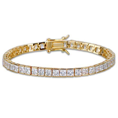 shenlanyu Pulsera de 4 mm de ancho cuadrado de la pulsera de tenis de la circonita de la joyería de los hombres/las mujeres de la moda encanto oro plata