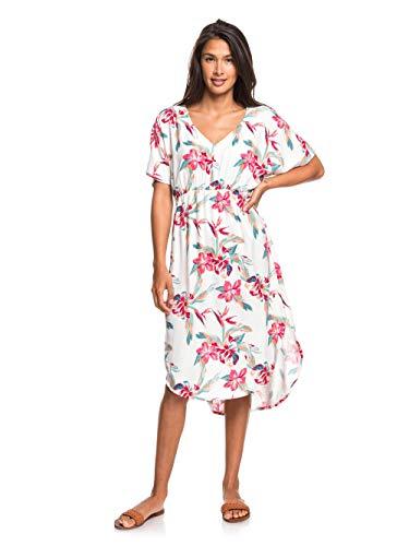 Roxy Damen Woven Dress Flamingo Shades - Kurzärmliges Midikleid Für Frauen, Snow White Tropic Call, L, ERJWD03428