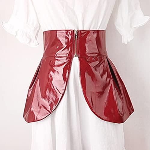 XYZMDJ Cinturón de Mujer Falda Femenina Cintura Cintura Cinturones de Moda Damas PU Arco Negro arnés Amplio Vestidos de diseñador Cintura
