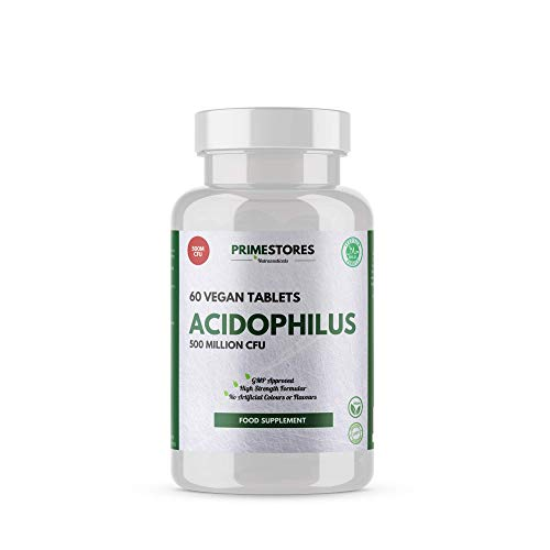 Acidophilus Probiotics for Adults 500 Million CFU - 60 Vegan Probiotic Tablets - High Strength Pills for Men and Women Supplements by Primestores