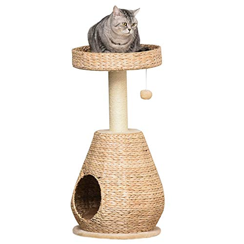 Pawhut Katzenbaum Kratzbaum Kätzchen Möbel mit Katzenhöhle Ballspielzeug Sisal weiche Plüsch Höhe 82,5 cm Gelb