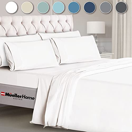 Mueller Ultratemp Bed Sheets Set, Super Soft 1800 Thread Count Egyptian 18-24 Inch Deep Pocket Sheets, Transfers Heat, Breathes Better, Hypoallergenic, Wrinkle, 6Pc, White King