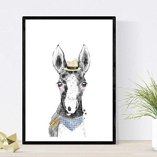 Baby paard kinder dia hoed en bandana aminals poster kinderen A4 formaat Unframed
