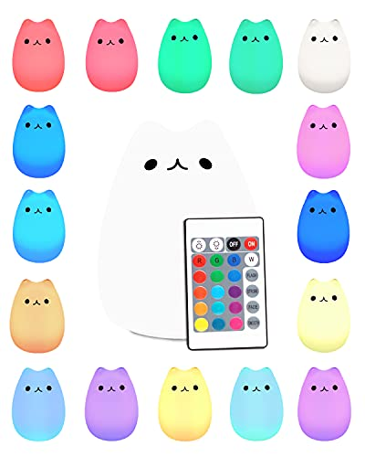 LED Night Light,Portable Silicone LED Night Lamp,USB Rechargeable Children Tap Light,Sensitive Touch Control Light with Warm White and 16-Color Breathing Modes for Kids, Baby, Children (Cute Kitty)
