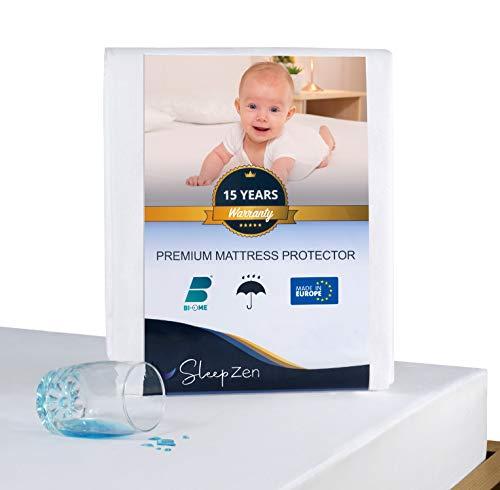 SLEEPZEN Coprimaterasso Lettino 60 x 120 cm Impermeabile - Traversa Certificata Oeko-Tex - Superficie in Pile di Cotone al 100% - Membrana Protettiva in Poliuretano, Antibatterico, Antiacaro