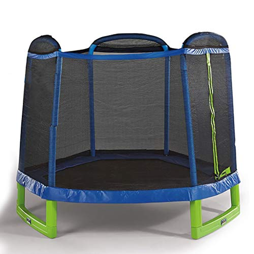 7ft Kids Trampoline and Safety Enclosure Net & Spring Pad, Outdoor Round Bounce Jumper 84' Indoor/Outdoor, Built-in Zipper Heavy Duty Frame | Gifts for Boy and Girl