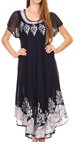 Sakkas B009 Batik Hindi Kappe Hülse Kaftan Kleid/Abdeckung Oben - Marine - eine Größe