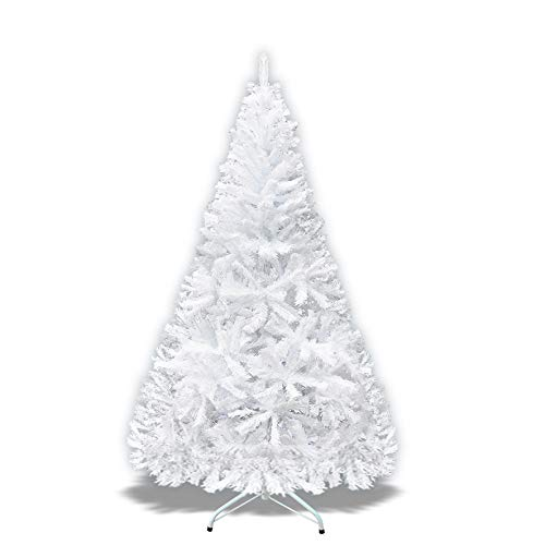 Strong Camel Artificial Christmas Tree Spruce Tree with Metal Stad for Holiday Decoration-White (7')