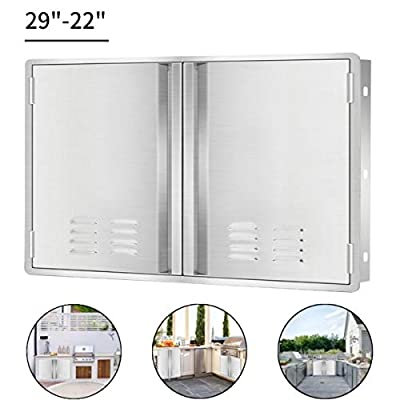 """Marada Outdoor Kitchen Doors,304 Stainless Steel Access BBQ Doors with Vents All Brushed Stainless Steel Flush Mount Double Wall Door for BBQ Island & Grill,Outdoor Kitchen(29'"""" W x 22"""" H)"""