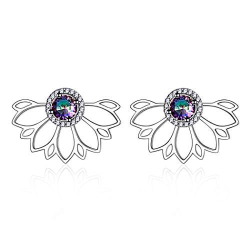 ChicSilver 925 Sterling Silber Regenbogen Topas Blumenohrstecker, Fächerform-Ohrstecker für Frauen als Geschenke
