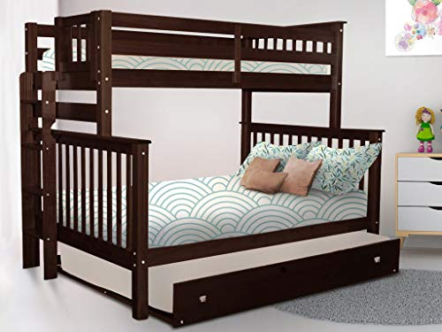 Bedz King Bunk Beds Twin Over Full Mission Style with End Ladder and a Full Trundle, Dark Cherry