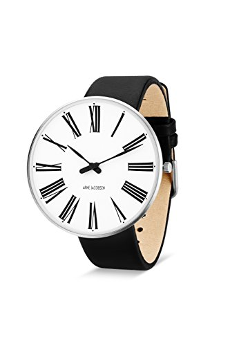 Arne Jacobsen Unisex-Armbanduhr, Quarzuhr, mit weißem analogem Zifferblatt, schwarzes Lederband 53303