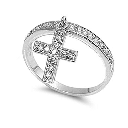 Sterling Silver Women's Clear CZ Dangle Cross Ring Cute Band 12mm Size 5