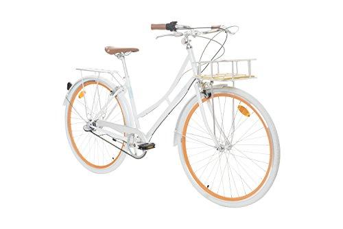Fabric City - Bicicletta di Città con Cestino, Interno 3 velocità, Donna City Bike (White Whitechapel Deluxe)