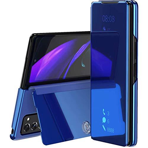 Miimall für Samsung Galaxy Z Fold 2 Hülle, Transluzent View Miroir Anti-Schock Spiegel Standfunktion Schutzhülle Premium PU Leder Klapphülle für Samsung Galaxy Z Fold 2 5G 2020 - Blau
