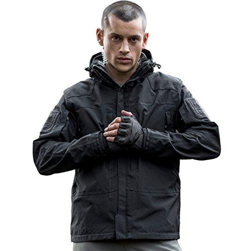 FREE SOLDIER Men's Waterproof Jackets with Fleece Coat Cordura Windproof Detachable Hunting Jacket (Black, XXXL)