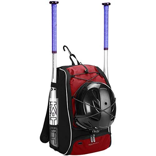 Amazon Basics - Mochila juvenil para equipo de béisbol, Rojo
