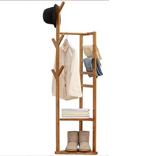AOIWE Coat Stand Rack Coat Rack Standing with 6 Hooks and 4 Trouser Racks and Two-layer Storage Area,for Living Room Bedroom Office and Hotel (Color : Primary Color)