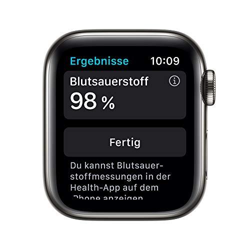 AppleWatch Series6 (GPS+ Cellular, 44mm) Edelstahlgehäuse Graphit, Sportarmband Schwarz