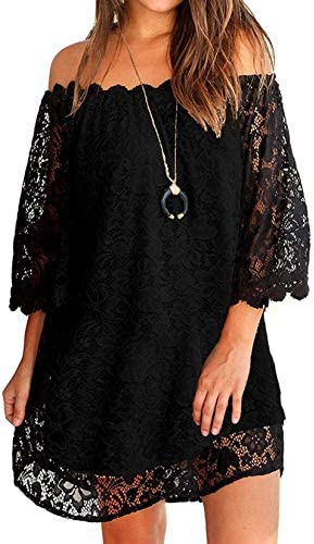 OURS Women s Lace Off The Shoulder Casual Loose Shift Dresses Black M product image