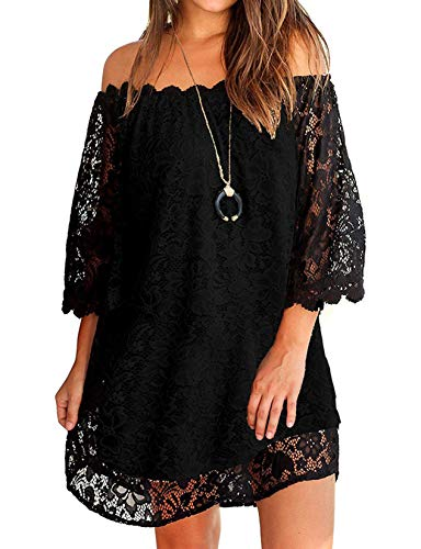 Loose Dresses for Women,Half Sleeve Lace Off The Shoulder Tunic Dress Black XXL