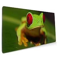 40*90CM超大型 マウスパッド 赤い目の蛙 光学式 ゲーミング ゲーム向け 防水 滑り止め 耐洗い表面 キーボード オフィス テーブル デスクマット