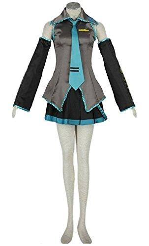 HOLRAN Anime 10pcs Vocaloid Family Hatsune Miku Cosplay Costume Set (X-Small) Grey