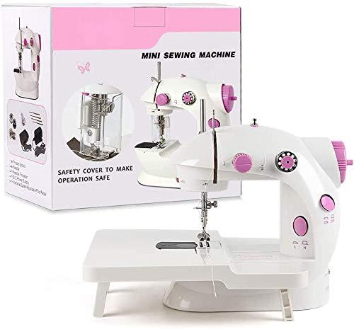 HAITRAL Máquina de coser, mini soporte plegable para ampliar el rango de funcionamiento con pedal doble y cubierta de luz LED para principiantes (rosa)