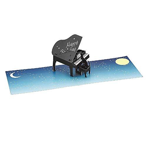 Happy Birthday Laser Cut Piano w/Cat Pop Up Greeting Card
