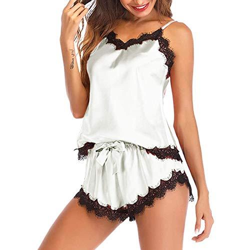 YLGAN Pijamas para mujer sin mangas cinturón pijama de encaje decoración de satén camisola pantalones cortos pijama conjunto ropa de dormir ropa de dormir camisón pijama