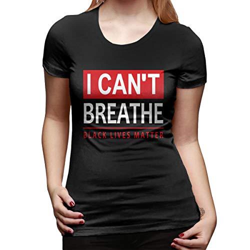 WoodWorths I Can't Breathe Black Lives Matter Womens Short Sleeve T Shirt Tees Sport Summer(XL,Black)