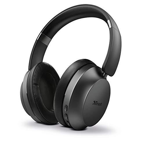 Trust Mobile Eaze Cuffie Bluetooth senza Fili Over-Ear Wireless (30 Ore di Tempo di Utilizzo, Microfono Integrato, Driver da 40 mm, Design Ripiegabile) Nero
