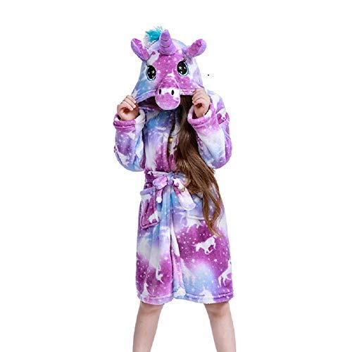 FuRobes Kids Plush Hooded Bathrobe - Unicorn Animal Flannel Robe for Boys and Girls Purple Moon 2 (100)