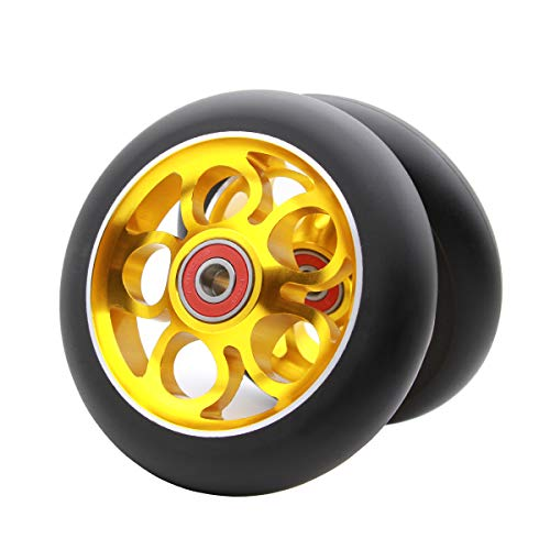 2Pcs 110mm Pro Scooter Wheels with Abec 9 Bearings Fit for MGP/Razor/Lucky Envy/Vokul Pro Scooters Replacement Wheels (Gold)