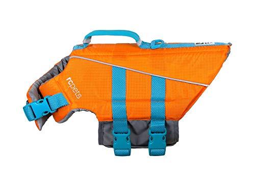 RC Pet Products RC Pets Tidal Rettungsweste für Hunde, verstellbar, Orange/Blaugrün, Größe XS