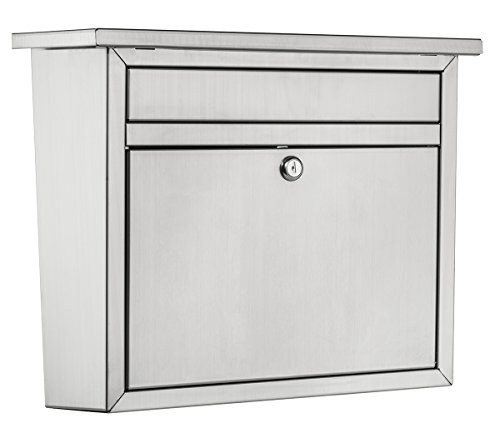 Architectural Mailboxes 2417PS-10 Maya Locking Wall Mount Mailbox, Large, Stainless Steel