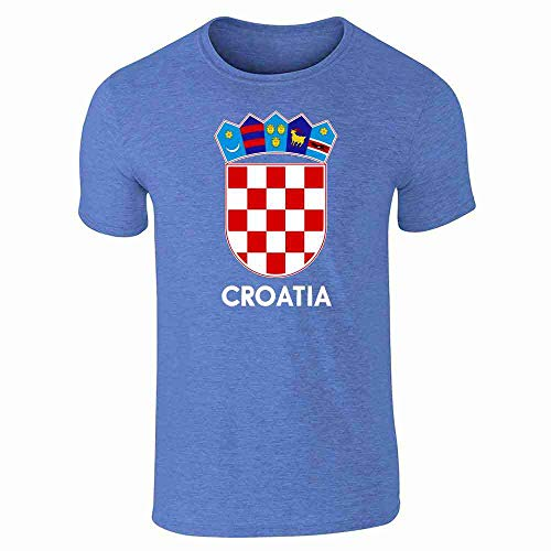 Croatia Soccer National Team Football Crest Retro Heather Royal Blue M Graphic Tee T-Shirt for Men