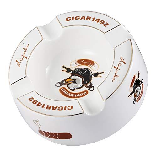LAFULI Cigar Ashtrays Large 8' Round Ceramic Cigar Ashtrays Cigarette Ashtray for Outdoor Indoor,Patio,Home,Table Modern Ashtrays,Fashion Four Slot Design(White)