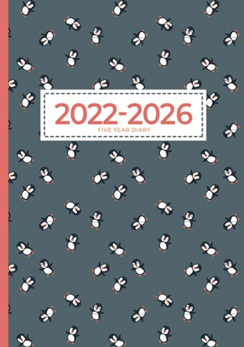 2022-2026 A5 Five Year Diary   Cute Penguins Can Fly: Month to View Planner (UK Holidays, Vision Board, Moon Phases) 5 Year Diaries, Personal Planners & Organisers