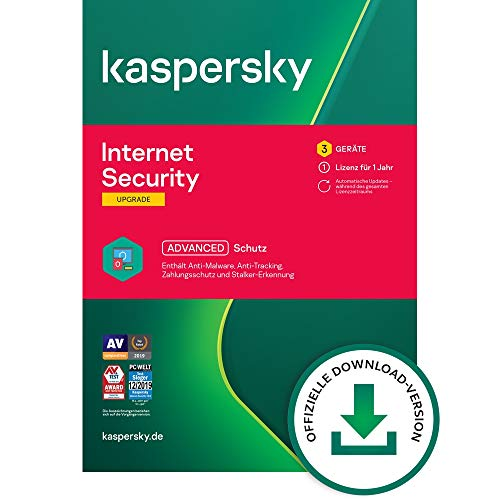 Kaspersky Internet Security 2021 Upgrade | 3 Geräte | 1 Jahr | Windows/Mac/Android | Aktivierungscode per Email