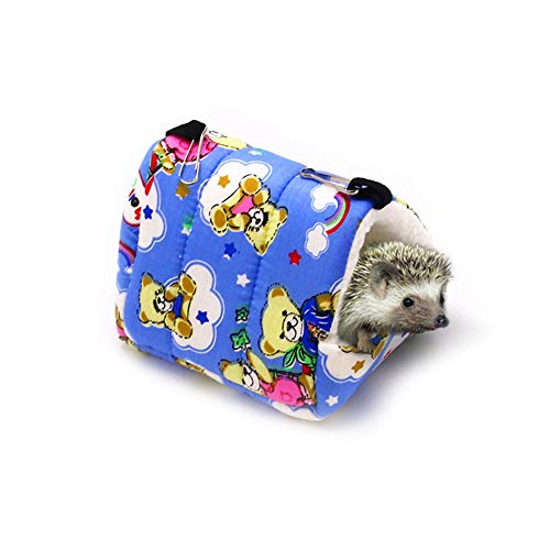 Oncpcare Winter Warm Kleine Dieren Bed Spelen Zachte Egel Bed Slapen Leuke Hamster Hangmat Vogels Huis Ophangen Rusten voor Gerbil Jonge Guinea Varken Degu Drawl Egel, M(6.7 x 5.9 inch), Beer
