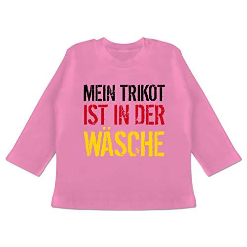 Fußball-Europameisterschaft 2021 - Baby - Mein Trikot ist in der Wäsche WM Deutschland - 6/12 Monate - Pink - Deutschland Trikot Baby - BZ11 - Baby T-Shirt Langarm